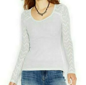 Lucky Brand gray chevron pointelle thermal top